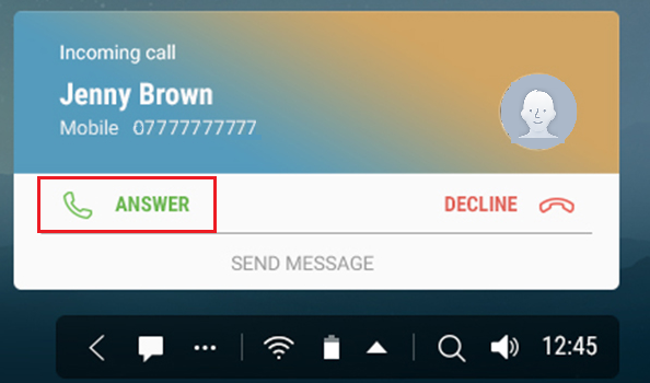 samsung dex incoming call choose answer
